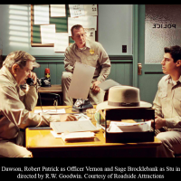 Alien Tresspass, Dan Lauria as Officer Dawson, Robert Patrick as Officer Vernon, and Sage Brocklebank as Stu in ALIEN TRESPASS, directed by R.W. Goodwin.  Courtest of Roadside Attractions